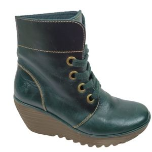 FLY LONDON Yel Petrol Wedge Lace Up Ankle Boots